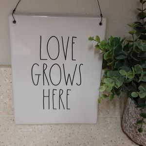"Rae Dunn Wall Hanging ""Love Grows Here"""